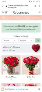 Bunches £10 OFF flowers- delivered free