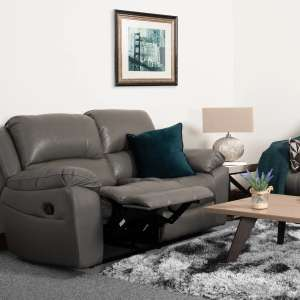 Atlanta 2 Seater Sofa Manual Recliner Grey (Genuine/Real Leather) Reduced To Clear £289 Delviered @ NCF Living