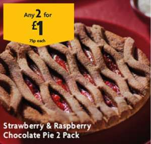 Morrisons strawberry and raspberry chocolate pie or Heart shaped doughnut 2 packs - £1