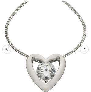 Platinum Plated Silver Heart Pendant 18 Inch Necklace - £8.99 @ Argos
