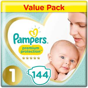 Pampers Premium Protection Softest Comfort Nappies Jumbo Pack, Size 1, 144-Count - £12.86 (Prime or + £4.49 NP) @ Amazon