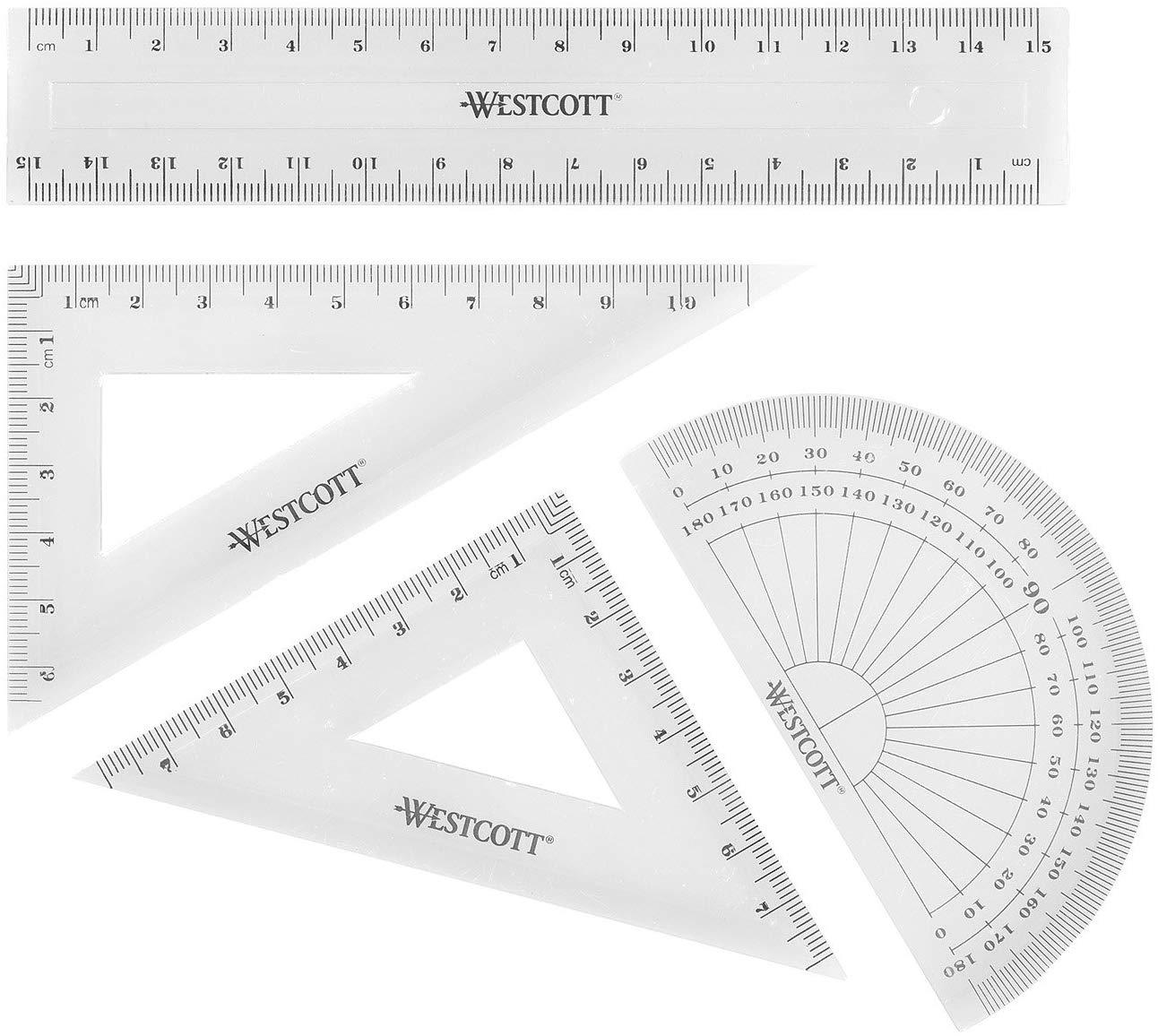 Westcott E-10303 00 Math Set - Transparent (Pack of 4) 79p (Prime) £5.28 (Non Prime) at Amazon