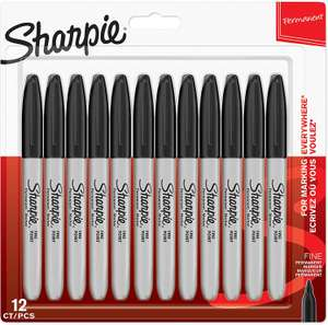 Sharpie Permanent Markers, Fine Tip, Black, 12 Pack £7.99 at Amazon