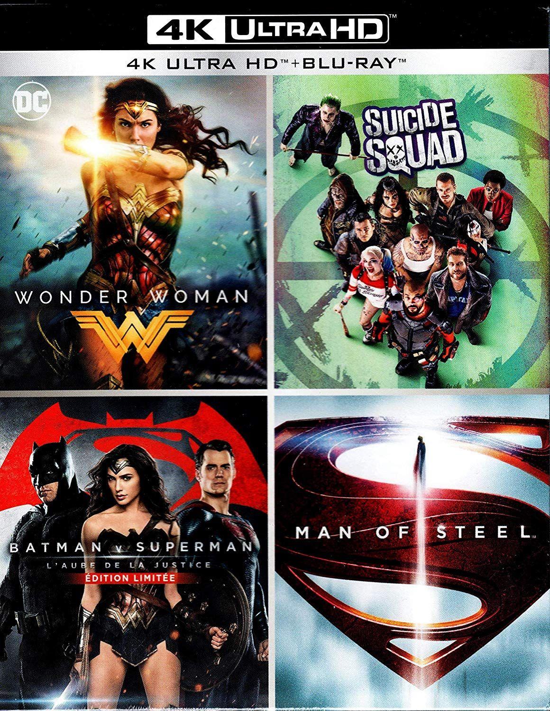 Blu-ray 4K Ultra HD 4 Films - Wonder Woman + Suicide Squad + Batman v Superman + Man of Steel @ Disc'ount/Amazon France