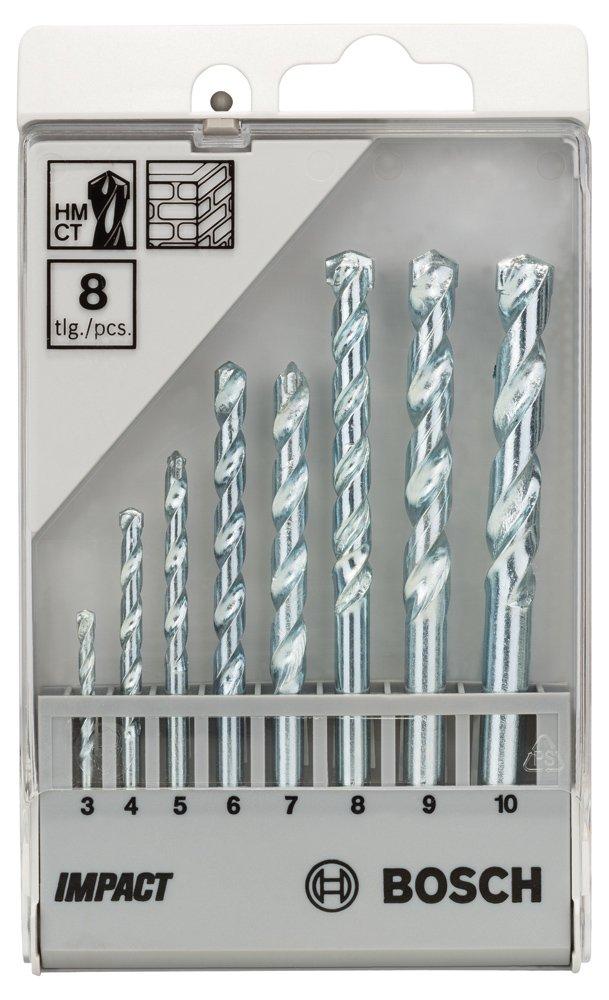 Bosch Professional 2607018366 8-Piece CYL-1 Masonry Drill bit Set, Silver, 3-10 mm now £4.95 (Prime) + £4.49 (non Prime) at Amazon