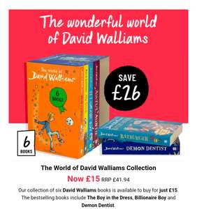 The World of David Walliams collection now £15 plus £2.95 p&p @ The book people free delivery with £25 spend