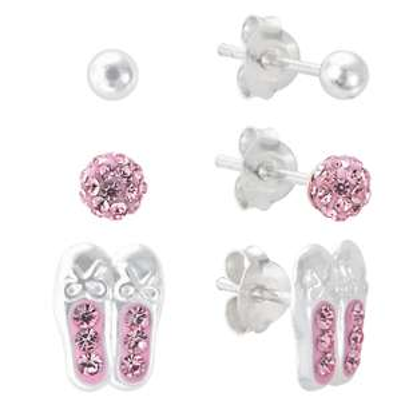 Revere 925 Sterling Silver & Crystal Ballet Shoe Stud Earrings Set £3.49 + Free C&C @ Argos
