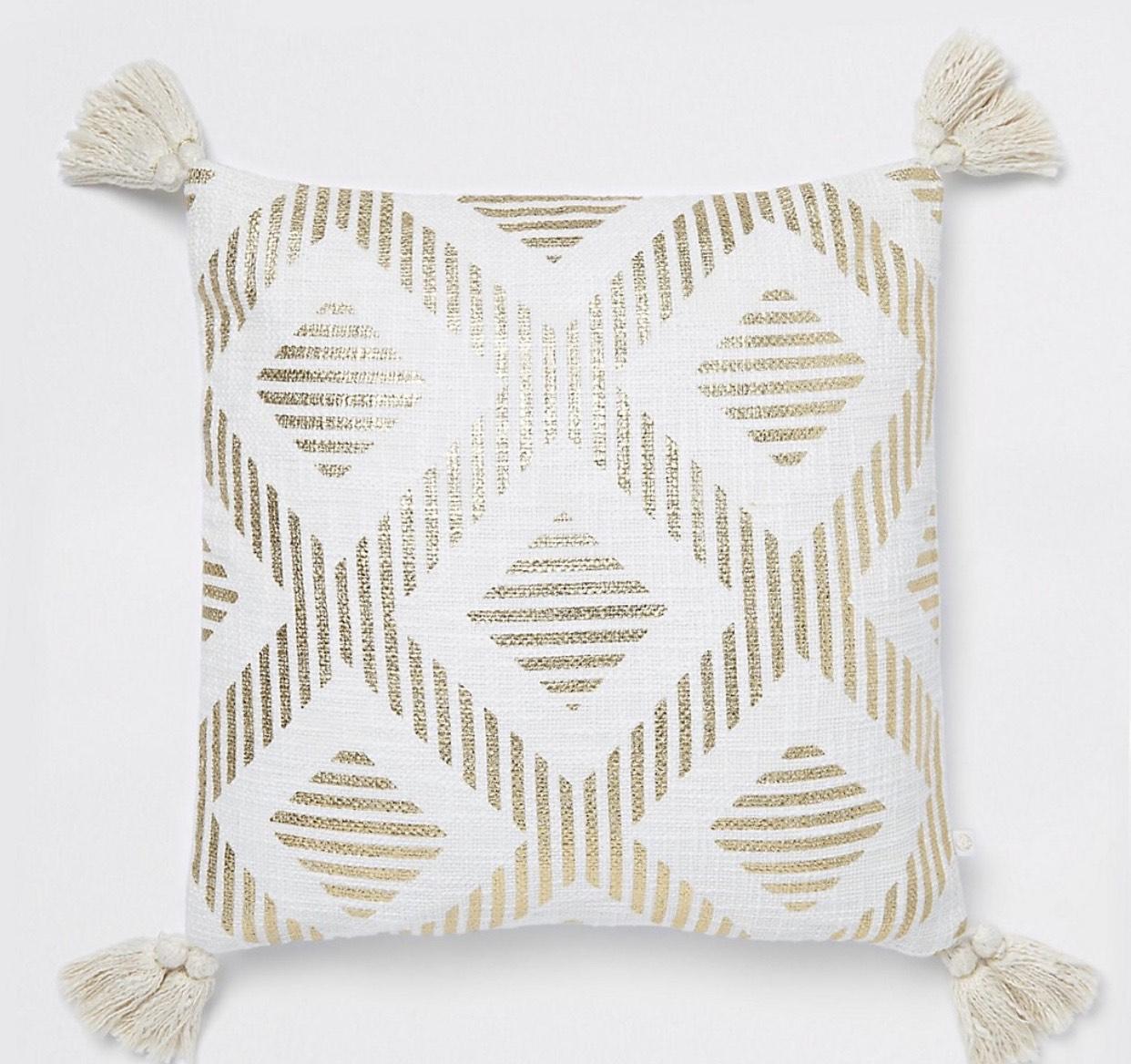 Gold print tassel cushion £3 @ river island £1 C&C