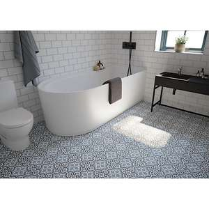 Wickes Melia Blue Patterned Ceramic Wall & Floor Tile 200 X 200mm (25 tiles) for £17 per sq. metre @ Wickes