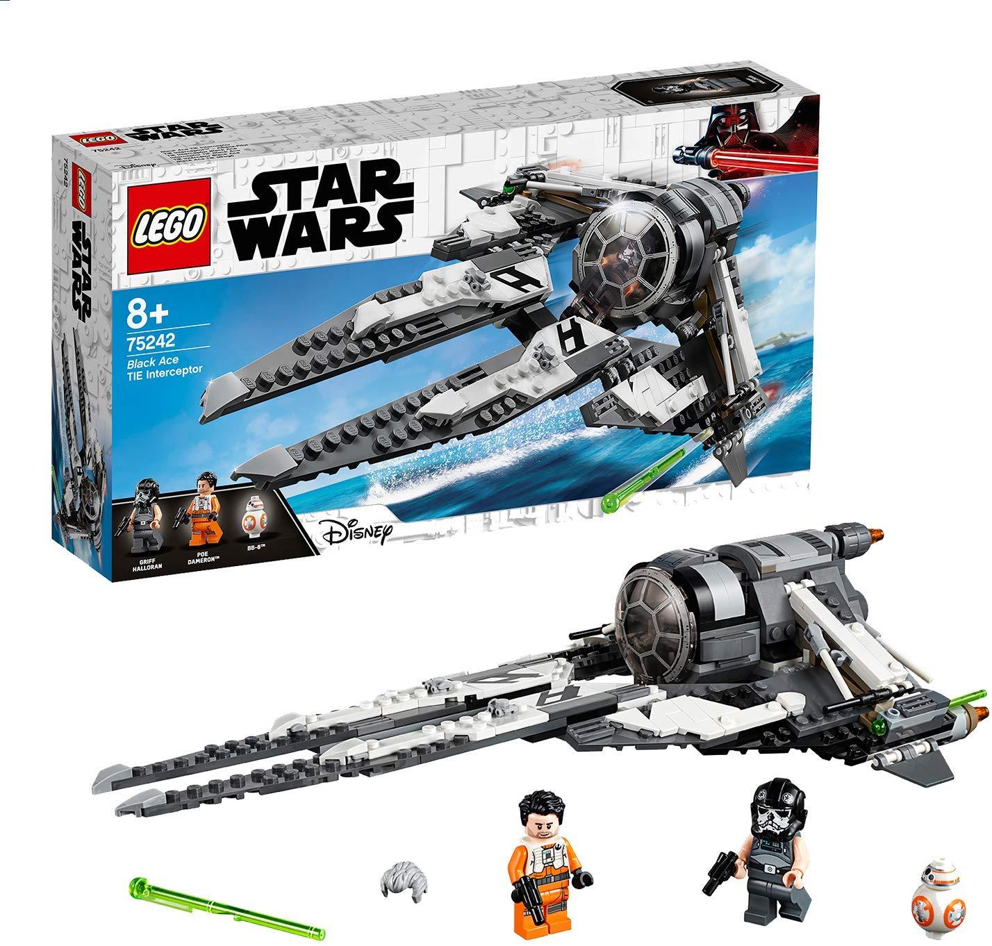 LEGO 75242 Star Wars Black Ace Tie Interceptor Starfighter Set Includes mini BB-8 and Poe Dameron Minifigures £22.49 @ Amazon