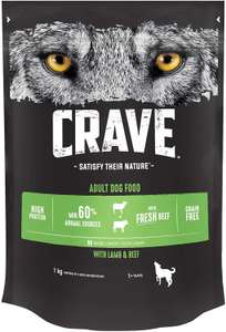 Crave High Protein and Grain-Free Dog Dry Food, 1 kg (Pack of 3) 3 KG £9.75 / £6.28 via subscribe and save @ Amazon (+£4.49 Non-prime)