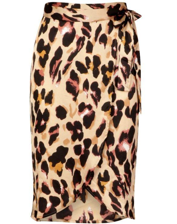 Leopard Print Satin Wrap Midi Skirt £8 instore @ Boohoo