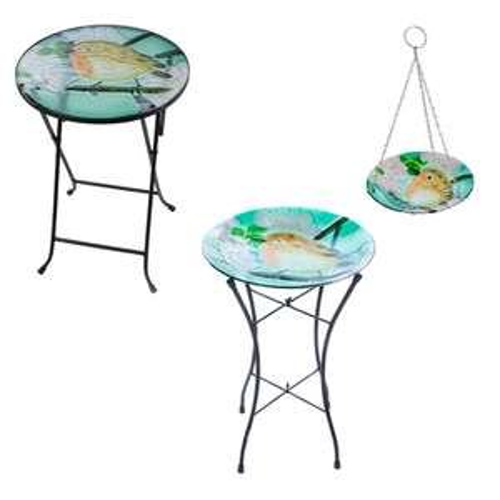 Garden Robin Glass Table £10.19 / Birdbath £10.19 / Hanging Birdbath £5.09 / All 3 £25.47 With Code - Free Click & Collect @ Robert Dyas