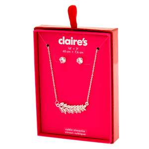 Silver tone Cubic Zirconia Jewellery Gift Set £5 (Was £14.00) - 2 Pack with Free Click and collect From Claire's