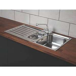 Franke Polished Stainless steel 1.5 Bowl Sink, tap & waste kit £60 @ B&Q