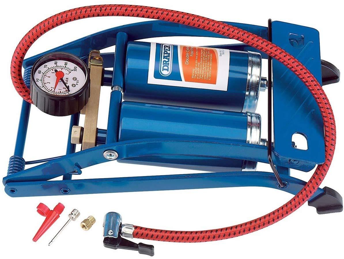 Draper 25996 Double-Cylinder Foot Pump £5.89 (Prime) £10.38 (Non-Prime) @ Amazon