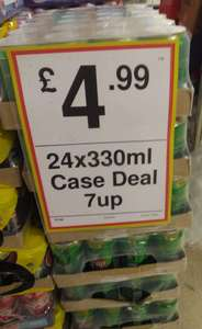 7up cans, case of 24 for 4.99 at FarmFoods Loughborough