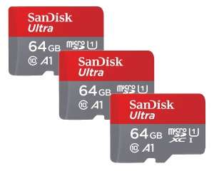 SanDisk Ultra Micro SDXC Memory Card 100MB s Class 10 for Android 64GB - THREE Pack (10-year warranty) £19.89 @ Picstop