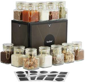 VonShef Set of 12 Mini Glass Storage Jars with Gold Clip Top + 2 Year Warranty - £9.99 delivered @ Vonhaus