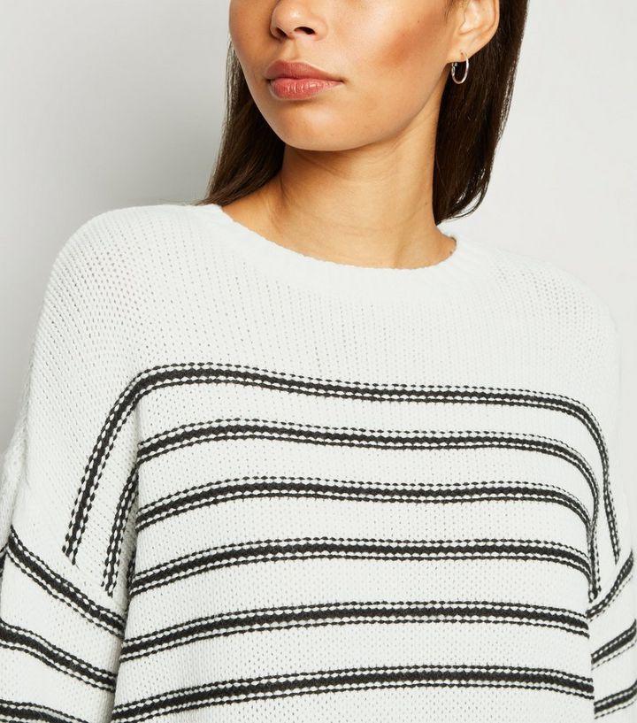 White Stripe Crew Neck Jumper £8 (+£1.99 click & Collect) @ New Look