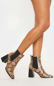 Brown Snake Square Toe Block Heel Ankle Boo £14 +£3.99 delivery @ Pretty Little Thing