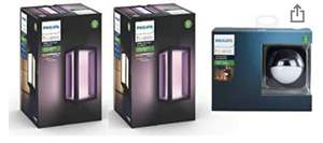 Philips Hue Impress White and Colour Ambiance LED Smart Garden 2x Wall Lights [Slim] + Outdoor Motion Sensor Bundle £169.99 Amazon