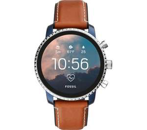 FOSSIL Explorist HR FTW4016 Smartwatch - Blue & Silver, Leather Strap £139 @ Currys