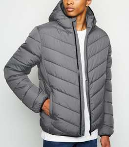 Grey Long Sleeve Puffer Jacket £12 + £1.99 click & collect @ New Look