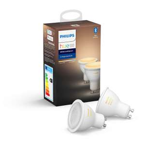 Philips Hue White Ambiance Smart Spotlight Twin Pack LED [GU10 Spot] with Bluetooth, Works with Alexa and Google Assistant £34.99 at Amazon