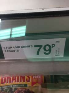 6 for 4 Mr Brains Faggots 79p @ Farmfoods-Seen At Ascot Drive Derby