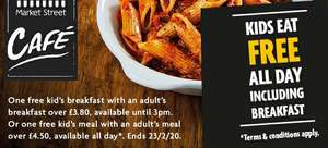 Kids eat free all day in our cafés with an adult's breakfast over £3.80 at Morrisons