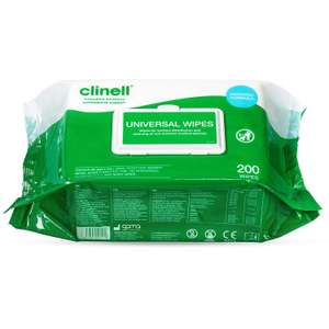Clinell Universal Disinfectant Wipes - Pack of 200 Large Wipes - £6.95 (Prime) + £4.49 Non Prime @ Amazon