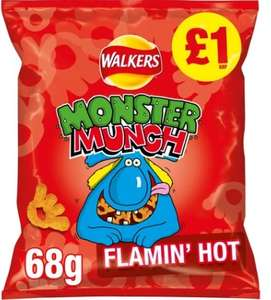Walkers Monster Munch Flaming Hot 68g - 3 for £1 @ Heron Foods
