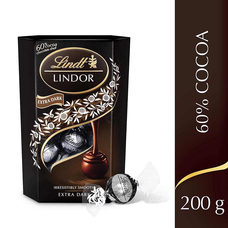 Lindor 60% Extra Dark Chocolate Truffles (200g) £2.92 per box (Min order 2) £5.84 prime / £10.33 non prime at Amazon