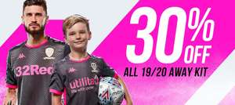 Leeds Utd online & instore 30% off away kits & 20% off goalkeeper and home kits