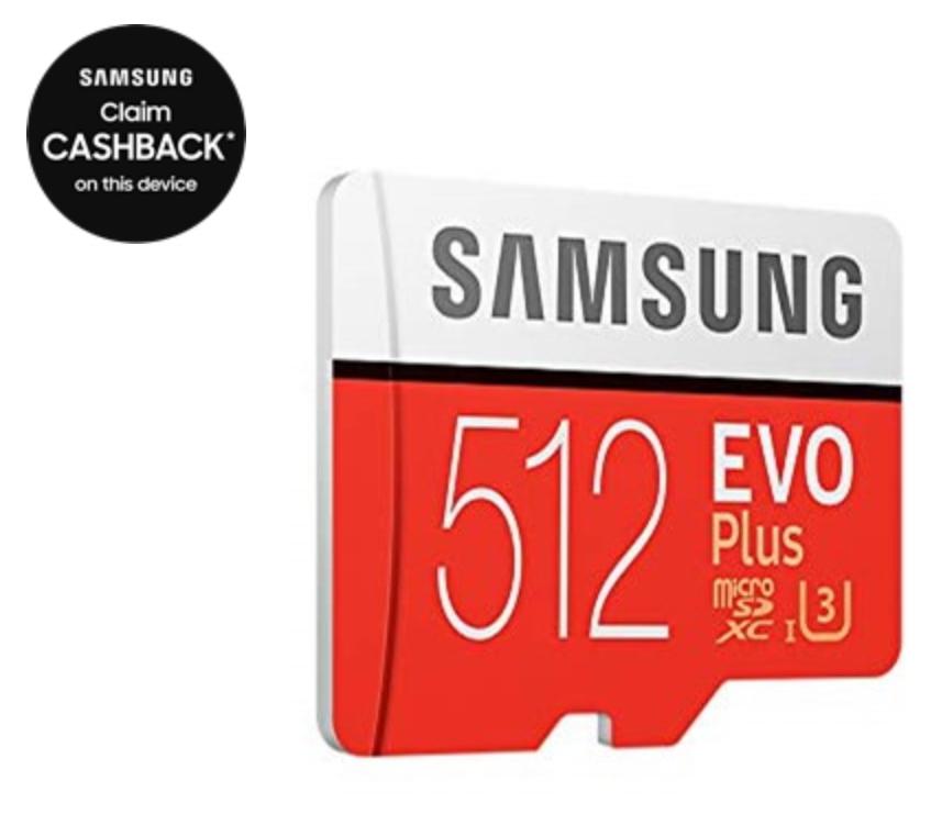 Samsung EVO Plus 512GB UHS-1 (U3) microSD Card for £79.44 (£59.44 after Cashback) @ CCLOnline