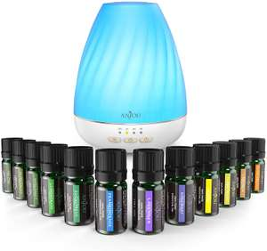 Anjou Essential Oils Diffuser Set, 200mL Tank Top 12 Aromatherapy Oils £7 Sold by Sunvalleytek-UK and Fulfilled by Amazon