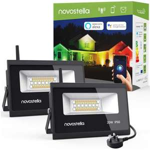 Novostella 2 Pack 20W LED Smart Outdoor RGB App Controlled Floodlights - Alexa / Google Assistant / IFTTT - £39.99 Sold by Ustellar-EU & FBA