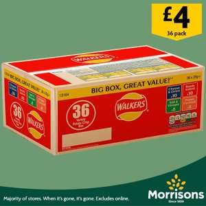 Walkers crisps box of 36 packets £4 at Morrisons instore