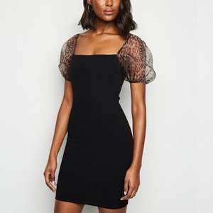 Black Leopard Print Organza Sleeve Bodycon Dress £7.00 / £8.99 click & collect @ New Look