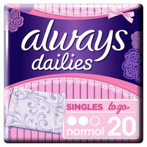 Always Dailies Singles To Go Panty Liners 20 Liners, Flexible and Comfortable, Individually Wrapped, Feel Fresh 95p at Amazon (+£4.49 NP)