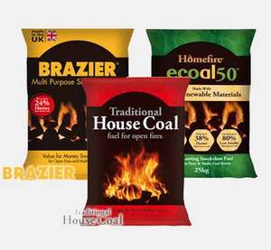 Traditional House Coal 10kg - £2 or Brazier Smokeless Coal 10kg - £2.75 or Homefire Ecoal 50 Smokeless Coal 10kg - £3.25 @ Wickes