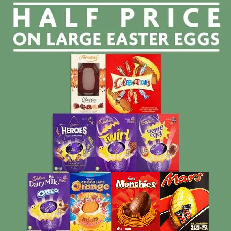Large Easter Eggs (20+ varieties) now £2 - Cadbury Double Decker 287g - Celebrations 248g - M&M'S 268g - Thorntons Bunny 200g @ Morrisons