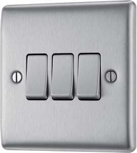 BG Electrical Triple Light Switch, Brushed Steel, 2-Way, 10AX £2.67 (Prime) £7.16 (Non-Prime) @ Amazon