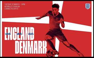 England v Denmark Friendly at Wembley 31st March from £30/£24 adult with code / £35/£28 with code 1 adult 2 children via Groupon