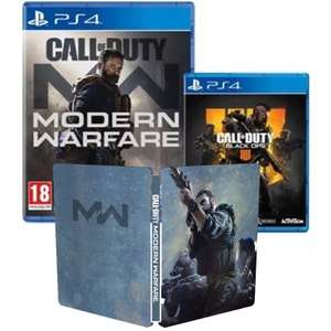 Call Of Duty: Modern Warfare PS4 + GAME Exclusive 2XP + COD MW Steelbook + Call of Duty: Black Ops 4 at Game for £39.99