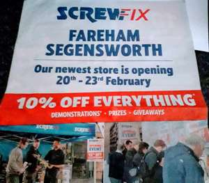 Screwfix Fareham Segensworth - New Store Opening 10% Off Everything - 20th - 23rd Feb