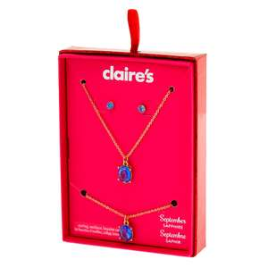 Birthstone Jewellery Gift Sets - Includes Bracelet, Pendant, and Stud Earrings Now £4.00 @ Claire's