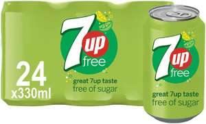 7UP Free Sparkling Lemon and Lime Drink Cans, 330ml (Pack of 24) £6 (+£4.49 Non Prime) @ Amazon