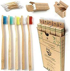 BAMBOOGALOO Organic Bamboo Toothbrushes - 5 Pack w/ Bamboo Cotton Buds & Dental Floss £6.78 Prime (+£3.49 non Prime) Innovate Lifestyle FBA